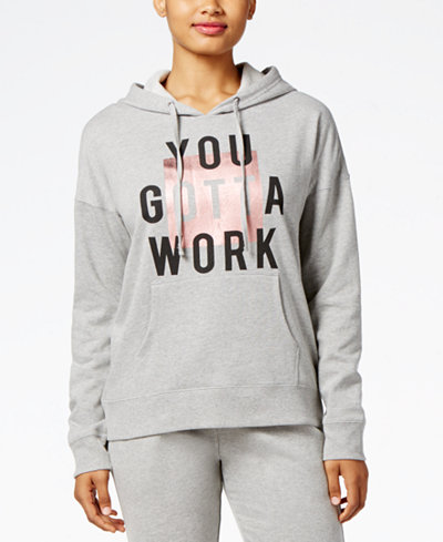 Material Girl Active Juniors' You Gotta Work Graphic Hoodie, Created for Macy's