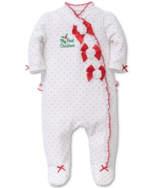 Little Me 1Pc DotPrint Bows Footed Coverall Baby Girls (024 months)