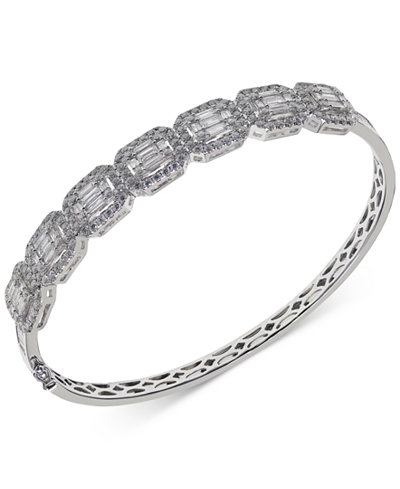 Diamond Halo Bangle Bracelet (3-1/4 ct. t.w.) in 14k White Gold