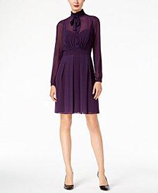 Anne Klein Dot-Print Mesh Dress