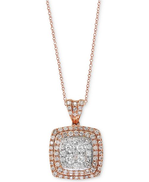 EFFY Collection EFFY® Diamond Cluster Halo Pendant Necklace (7/8 ct. t.w.) in 14k Rose & White Gold