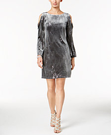 Jessica Howard Sequined Velvet Cold-Shoulder Dress