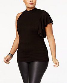Soprano Trendy Plus Size Ruffled-Sleeve Top