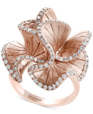 Pav Rose by EFFY Diamond Flower Ring 910 ct tw in 14k Rose