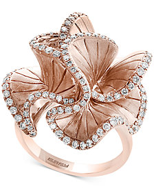 Pavé Rose by EFFY® Diamond Flower Ring (9/10 ct. t.w.) in 14k Rose Gold