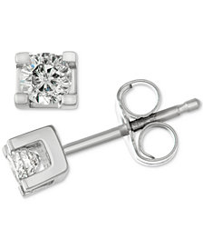 Diamond Square Setting Stud Earrings (1/4 ct. t.w.) in 14k White Gold