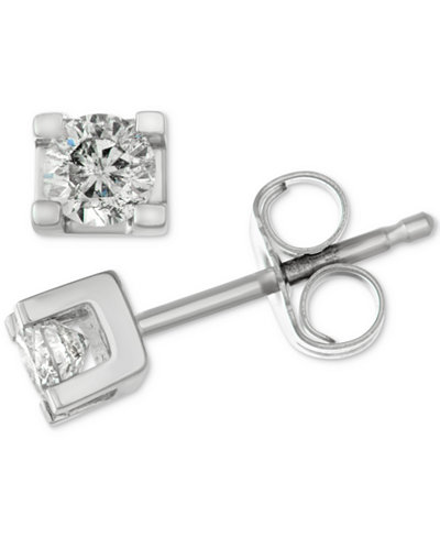 Diamond Square Setting Stud Earrings (1/4 ct. t.w.) in 14k White Gold