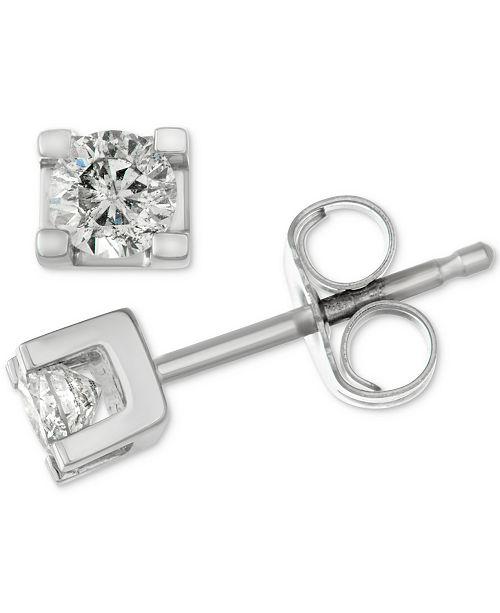 Macy's Diamond Square Setting Stud Earrings (1/4 ct. t.w.) in 14k White Gold