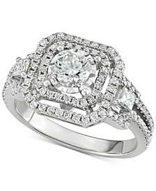 Diamond Openwork Square Halo Engagement Ring (1-1/5 ct. t.w.)