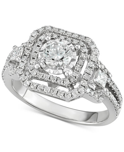 Diamond Openwork Square Halo Engagement Ring (1-1/5 ct. t.w.)