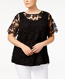 Love Scarlett Plus Size Lace-Overlay Illusion Top