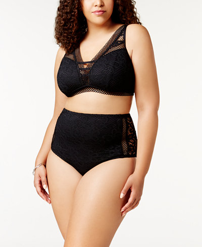 Becca ETC Plus Size Crochet Bralette Bikini Top & High-Waist Bottoms