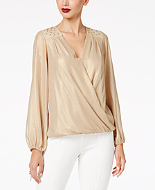 Thalia Sodi Metallic Surplice Top, Created for Macy's