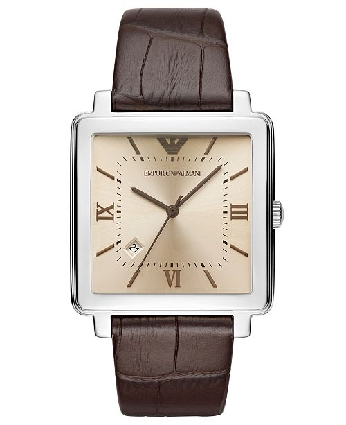 Emporio Armani Men's Brown Leather Strap Watch 38mm