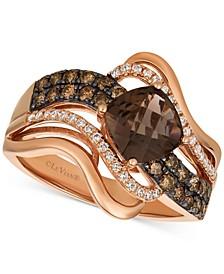 Chocolatier® Chocolate Quartz® (1-1/4 ct. t.w.) & Diamond (1/2 ct. t.w.) Twist Ring in 14k Rose Gold