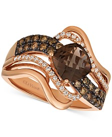 Le Vian Chocolatier® Chocolate Quartz® (1-1/4 ct. t.w.) & Diamond (1/2 ct. t.w.) Twist Ring in 14k Rose Gold