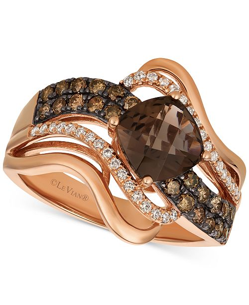 Le Vian Chocolatier® Chocolate Quartz® (1-1/4 ct. t.w.) & Diamond (1/2 ct. t.w.) Twist Ring in 14k Rose Gold