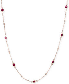 Amoré by EFFY® Ruby (1-3/8 ct. t.w.) & Diamond (1/8 ct. t.w.) Station Collar Necklace in 14k Rose Gold