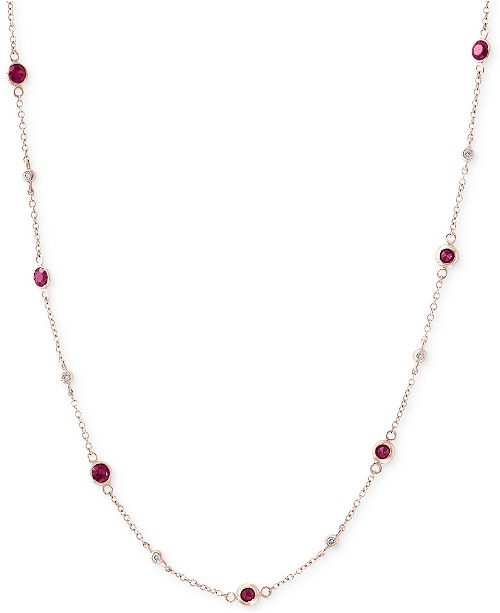 EFFY Collection Amoré by EFFY® Ruby (1-3/8 ct. t.w.) & Diamond (1/8 ct. t.w.) Station Collar Necklace in 14k Rose Gold