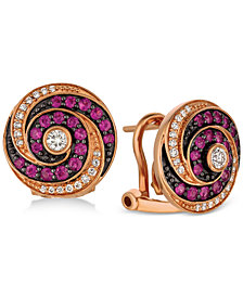 Le Vian Extraterrestrials® Passion Ruby™ (1/2 ct. t.w.) & Diamond (1/4 ct. t.w.) Spiral Stud Earrings in 14k Rose Gold