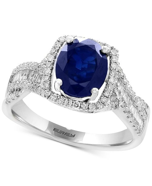 EFFY Collection EFFY® Sapphire (1-9/10 ct. t.w.) & Diamond (3/8 ct. t.w.) Ring in 14k White Gold