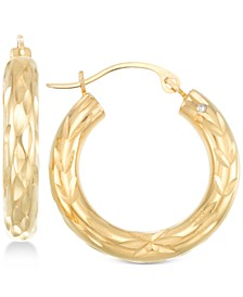 Diamond Cut Small Hoop Earrings in 14k Gold over Resin