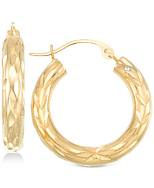 Signature Gold™ Diamond Cut Small Hoop Earrings in 14k Gold over Resin