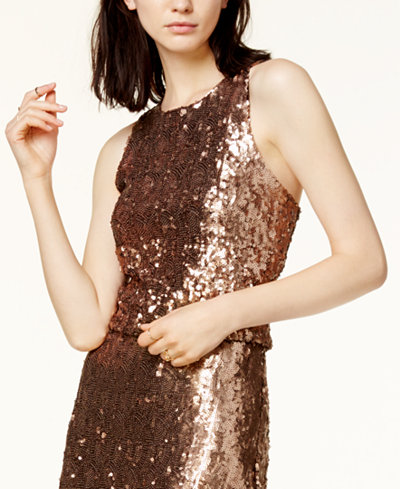 Bar III Sequined Cropped Top, Created for Macy's