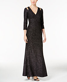Calvin Klein Cold-Shoulder Glitter Dress
