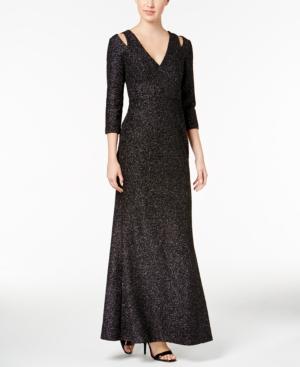 Calvin Klein  COLD-SHOULDER GLITTER DRESS