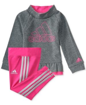 adidas 2Pc Heathered Pullover Sweatshirt  Pants Set Little Girls (46X)