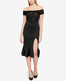 GUESS Sequined Off-The-Shoulder Dress