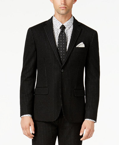 Bar III Men's Slim-Fit Black Stripe Knit Suit Jacket, Created for Macy's