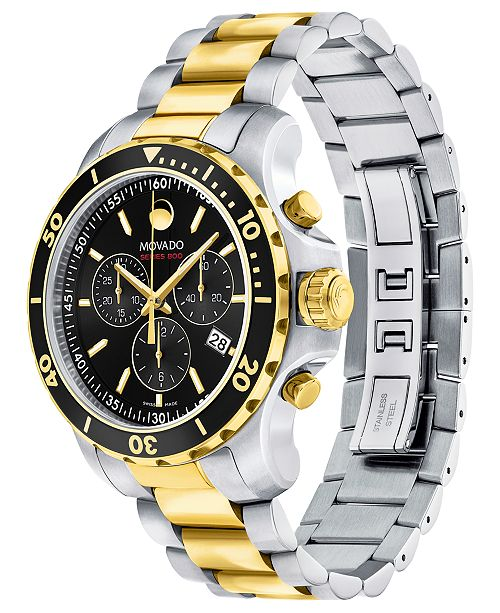ccf873a5e87a9 ... Movado Men s Swiss Chronograph Series 800 Two-Tone PVD Stainless Steel  Bracelet Watch ...