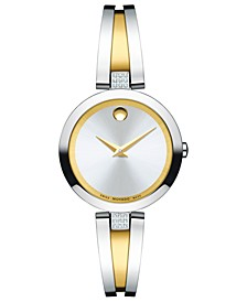 Women's Swiss Aleena Diamond-Accent Two-Tone PVD Stainless Steel Bangle Bracelet Watch 24mm