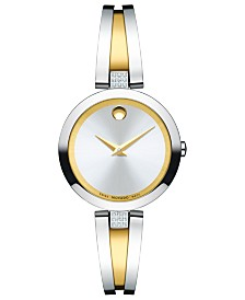 Movado Women's Swiss Aleena Diamond-Accent Two-Tone PVD Stainless Steel Bangle Bracelet Watch 24mm