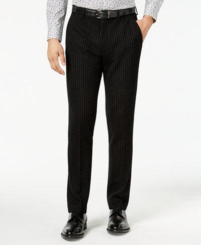 Bar III Men's Slim-Fit Black Stripe Knit Suit Pants, Created for Macy's