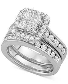Diamond Square Halo Bridal Set (2-7/8 ct. t.w.) in 14k White Gold