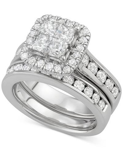 Diamond Square Halo Bridal Set (2-7/8 ct. t.w.) in 14k White Gold
