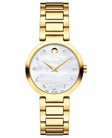 Movado Women's Swiss Modern Classic Diamond-Accent Gold-Tone PVD Stainless Steel Bracelet Watch 28mm