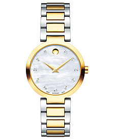 Movado Women's Swiss Modern Classic Diamond-Accent Gold-Tone PVD and Stainless Steel Bracelet Watch 28mm