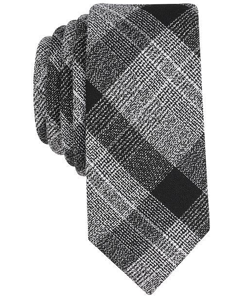 Bar III Men's Tammenga Plaid Skinny Tie, Created for Macy's