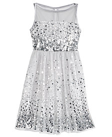 Crystal Doll Big Girls Sequin Illusion Dress