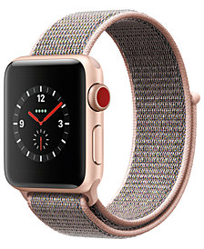 Apple Watch Series 3 (GPS + Cellular),  38mm Gold Aluminum Case with Pink Sand Sport Loop