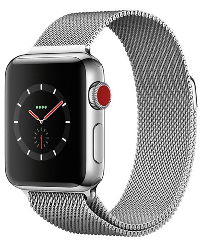 Apple Watch Series 3 (GPS + Cellular), 38mm Stainless Steel Case with Milanese Loop