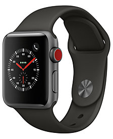 Apple Watch Series 3 (GPS + Cellular),  38mm Space Gray Aluminum Case with Gray Sport Band