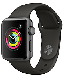 Apple Watch Series 3 (GPS), 38mm Space Gray Aluminum Case with Gray Sport Band