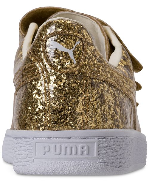 bca3be234fc445 ... Puma Women s Basket Strap Glitter Casual Sneakers from Finish Line ...