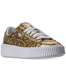 Puma Women's Basket Platform Glitter Casual Sneakers from Finish Line