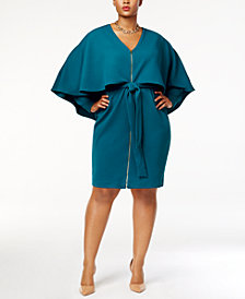 Monif C. Trendy Plus Size Zip-Front Cape Dress